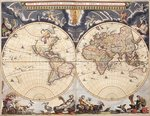 World map from the Blaeu Atlas, 17th century by Luis Teixeira - print