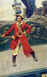 Pirate captain on deck by Howard Pyle - print