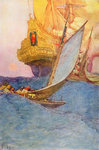 Pirates approach a treasure ship by Howard Pyle - print