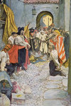 Pirates extort money from the citizens of a town by Howard Pyle - print