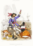 Captain Henry Morgan carouses with wine and women, in true pirate fashion by A. Catel - print