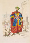 Ali Khoja, ruler of Algiers 1816-1818, resplendent in a green turban and wearing a fine sword, is surrounding by the severed heads of vanquished enemies after the bombardment of 1816 by A. Catel - print
