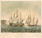 The Cumberland Merchant Ship engaging 4 French Lugger Privateers off Folkestone, on 13th Jany 1811 by Thomas Goldsworth Dutton - print