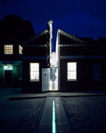 Illuminated Meridian Line at night, Royal Observatory, Greenwich
