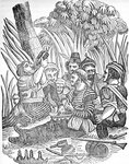 Bartholomew Roberts (1682-1722) or 'Black Bart''s pirate crew carouses at Old Calabar river in West Africa. by John Exquemelin - print