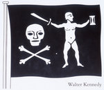 The Jolly Roger of Walter Kennedy (died 19 July 1721), Irish pirate who served under Howell Davis and Bartholomew Roberts, featuring skull and crossbones, sword and sailor on the flag by John Exquemelin - print