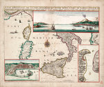 Map containing the island and kingdom of Sicily, with a part of Naples, and other adjacent coasts including the Tyrrhenean Sea by William Henry Smyth - print