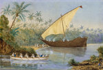 HMS 'London' chasing a slaving dhow near Zanzibar by William Lionel Wyllie - print