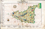 Chart of Sicily, 1554 by Nicholas Comberford - print