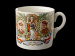 White mug printed in colour in commemoration of the Peace ending World War I by unknown - print