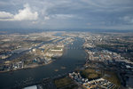 Aerial view of National Maritime Museum, Greenwich and river Thames