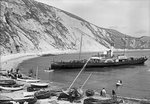 Paddlesteamer Victoria preparing to beach and land passengers at Lulworth Cove, Dorset by unknown - print