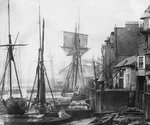 Black Eagle Wharf with the schooner Express of Alnmouth. Wapping, London. by unknown - print