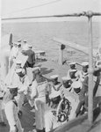 Somali crewmen on the quaterdeck of HMS 'Venus' in Singapore in 1916 by unknown - print