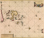 Chart of Orcades Eylande (Orkneys) from van Keulen's 'Great and Newly Enlarged Sea Atlas', 1682 by Edward Augustus Inglefield - print