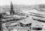 Portsmouth, Hampshire on 26th May 1944, looking south west across No.2 Basin in the dockyard by unknown - print