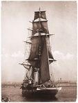 A port view of 'Nautilus' bearing up to her anchorage in Plymouth Sound 1895-1905 by unknown - print