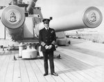 Earl David Beatty standing on the quarterdeck of his flagship, HMS 'Queen Elizabeth' as Admiral of the Fleet. by unknown - print