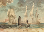 Two small Royal Navy frigates by James Henry Butt - print