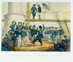 English sailors & French soldiers. A Dance on board HMS Vulture Augt 7' by Oswald Walter Brierly - print