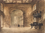 The Painted Hall Greenwich, from the Upper Hall, showing Nelson's funeral car by W. Pearson - print