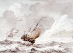 A small pink close hauled in a strong breeze off a rocky shore by James Henry Butt - print