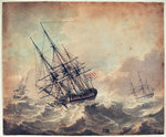 An English frigate in distress by George Bulteel Fisher - print