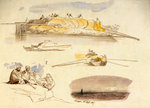 Five sketches of Luxor, Egypt by Edward Lear - print