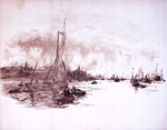 Port scene possibly London, with sailing barge and steam vessels by William Lionel Wyllie - print