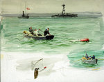 Sailors in a rowing boat retrieving an object from the sea by J. E. Cooper - print