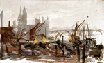 Vessels moored beside a river possibly the Thames, with bridge and large buildings outlined in background by William Lionel Wyllie - print