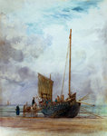 Beached fishing boat unloading into a cart, with figures