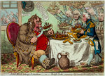 John Bull taking a Luncheon: - or - British Cooks, cramming Old Grumble-Gizzard, with Bonne-Chere