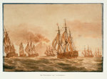 The 'Victory' with the fleet off Stromboli, January 1805 by James Henry Butt - print