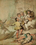 The Miseries of London....being assailed by a group of watermen.... by Thomas Lawrence - print