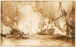 Study for the painting of Bombardment of Algiers, 1816 by William Lionel Wyllie - print