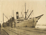 The steam vessel 'Penaglis M Hadoulis' in harbour 1 by William Lionel Wyllie - print