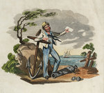 Sailor leaning on anchor with foot on gun barrel, holding paper in left hand by George Cruikshank - print