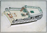 Diagram and section of the well and poop decks of HMS 'Canopus' by Gabriel Bray - print