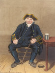 Portrait of Greenwich Pensioner, seated with clay pipe and tankard by Auguste Lepere - print