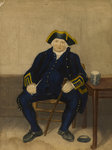Portrait of Greenwich Pensioner, seated with clay pipe and tankard by W.H. Timms - print