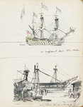 Sketch of an 18th century three-decker and view of a West Indiaman fitting out in Cox & Curtin Yard, Limehouse by James Henry Butt - print