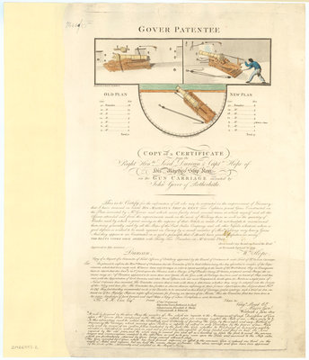 Certificate for Gover's Gun Carriage Patent confirming the design used on Kent (1798) by P. Roberts - print