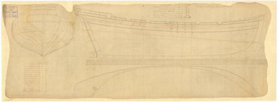 Lines & profile plans of 'Rattlesnake' (1777) by Anonymous - print
