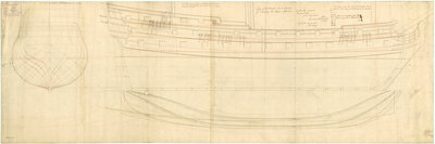 Lines plan of the 'Rippon' (1735) by unknown - print