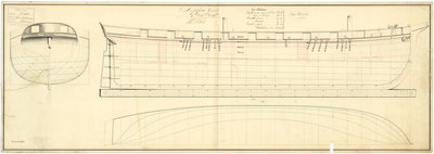 Lines & profile plan of the captured French ship 'Jalouse' (1797) by unknown - print