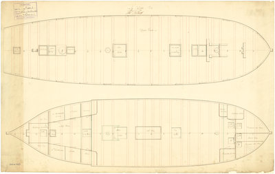 Deck plan for captured French ship 'Jalouse' (1797) by unknown - print