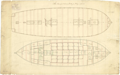 The deck plan of the 'Cruizer' (1797) by unknown - print