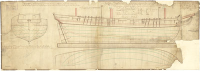 The lines plan of the 'Cruizer' (1797) by unknown - print