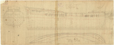 Lines & profile plan of the 'Ambuscade' (1746) by unknown - print
